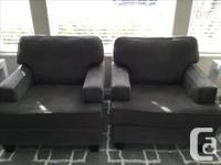 Dark grey couch and two matching chairs. Great shape,