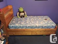 Pine single size mates bed with bookcase headboard, two