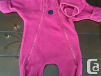 Pink one item fleece match with layer over cuffs for