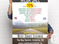 MEGA SALE AT WEST COAST LEATHER, WITH EVERYTHING ON