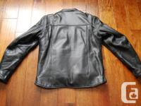 Men's leather motorcycle jacket. Size medium. Like new,