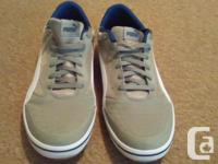 Like new condition , worn less than 1 week. Gray Pumas