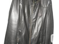 This 2 item classic-sytled black natural leather jacket
