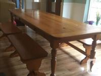 10 ft. table by 3 ft. 4 benches. sideboard open shelves