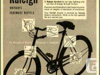 Raleigh Bicycle circa 1950. This men's bicycle is in