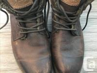 Mens Brown Authentic Leather Boots with Lining, size