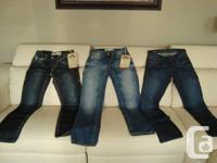 "Men's/ Teens Designer Jeans - 3 Pairs  -30""waist/34"""