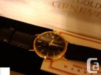 Mens Geneve Quartz Black dial watch, 14k solid gold,