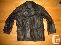 Selling a mens black leather jacket. made from genuine