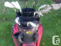 Mens RH Hogan Radial golf clubs and bag. Irons: