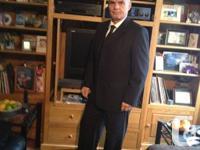 Men's black 3 piece suit pants/vest/jacket pin striped