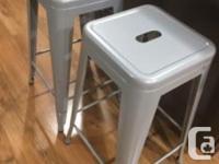 Two metal bar stools - light grey tone - 26� high -