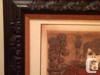 Mexican large carved wood picture frame 32 inches by 44