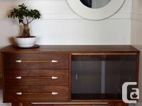 Sleek Mid Century Walnut Sideboard/ TV Stand/ Vanity.