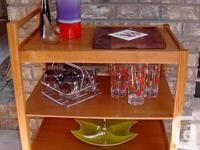 Beautiful teak cart, use for display, a side table or