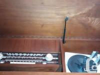 Mid-Century Solid Wood Stereo Cabinet with radio, turn