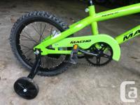 Green Mighty Macho BMX style kids bike with detachable
