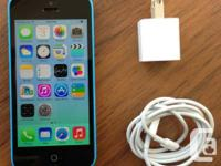 10/10 CONDITION IPHONE 5C IN BLUE  LOCKED TO TELUS /