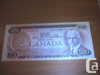 Mint Condition $100 Canadian Bill from 1975   Calling