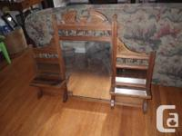 lovely antique mirror, with 2 little racks, mirror has
