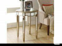 """Mirrored 24""""Dia Scalloped Accent Table"""
