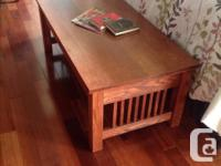 Solid mission oak table and matching lamp tables. This