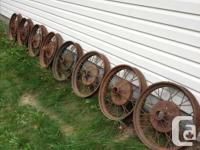 These wheels are off a 1928 Model A Ford. Some are in