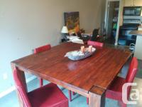 Solid Wood Chestnut Red Dining Table. Bar Height with 4