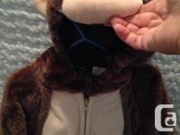 Monkey - SIZE 18 months + Warm - zippered. Hood &
