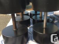 Dumbbells 100, 105, 110 lbs sold steel one piece