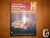Chevrolet Monte Carlo Haynes Maintenance and repair