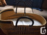 Angel wings moses basket with leather handles. Made