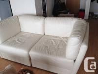white leather couch  40$ (in a great shape, very