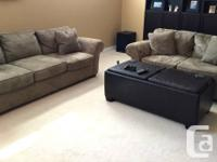 Olive Green Microfiber Faux Suede Couch & Matching Love