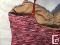 Multi stripe red/pinks shelf bra, satin straps, front