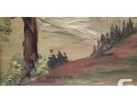 Muskoka landscape oil on board. A small painting of