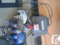N64 console three controllers Gameboy adapter and
