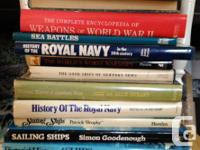 For sale is a naval enthusiasts collection of books.