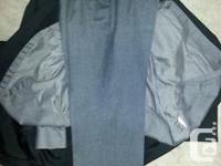 Navy Blue Jacket: size medium Dark Grey Pants: Waist 37