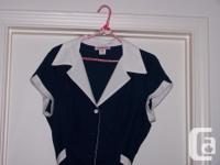 Ladies Navy Blue w/white dress - cap sleeves Fits like
