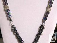 NECKLACE MADE FROM CRYSTALS, SILVER FILIGREE BEADS,