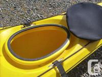 The kayak is a Necky Elaho polyethylene boat. It is
