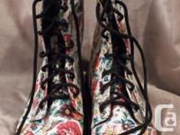 'Lady Godiva' Brand Floral Combat Boots Never Worn!