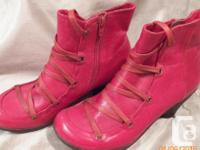Miz Mooz 'Claudia' style mid heel ankle bootie in Red