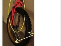 Dirt bike rim for bicycle front with bicycle disk brake