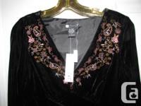 BRAND NEW. Black velvet top blouse with beautiful