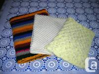 Baby Blankets: Multicolor $30, Off White $20 and Yellow