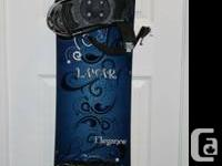 This is a women's 2012 snowboard package including