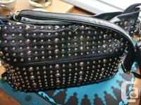 New Leather Studded Simon Chang Purse. Measures inches
