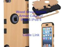 Unique Design Wood Grain Hybrid Defender Case for IPod